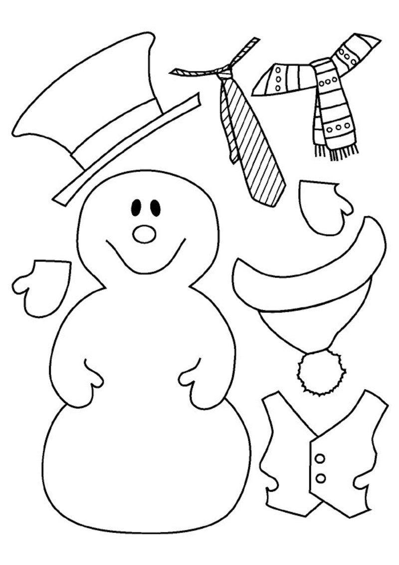 bonhomme de neige a habiller et colorier